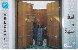 Qatar, QTR-48, Girl Opening Door, 2 Scans. - Qatar