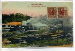 TONKIN COCHINCHINE GO Vap La Gare Et Trains Belle Carte Couleur  écrite 1913 Timbrée  /D13-S2017 - Vietnam