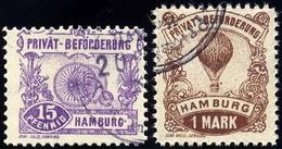 HAMBURG E 15/6A O, HAMMONIA II: 1888, 15 Pf. Und 1 M. Verkehrsmittel, Gezähnt 111/2, 2 Prachtwerte, Mi. 45.- - Privatpost