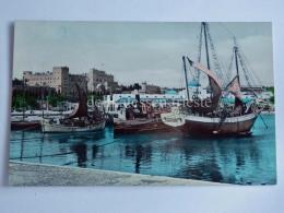 GRECIA GREECE RODI RHODES Port Fishing Boat Barca Pesca Old Postcard - Grecia