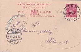 MALTE 1897 ENTIER POSTAL DE LA VALETTE - Malta (...-1964)