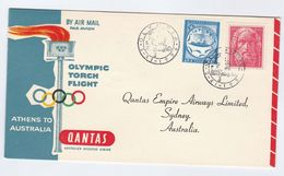 1956 OLYMPIC TORCH Special FLIGHT COVER GREECE To AUSTRALIA Via QANTAS Olympics Games Stamps Aviation Sport - Estate 1956: Melbourne