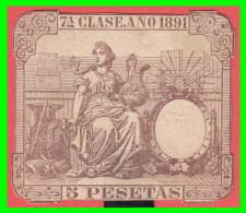 ESPAÑA. FISCAL. 1891. 5 PTA. PÓLIZA * 7ª CLASE *. Nº. MAGNÍFICA Y RARA. - Used Stamps
