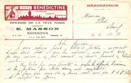 MÉMORANDUM 1931 E. MASSON SOISSONS AISNE ÉPICERIE DE LA TETE NOIRE - LIQUEUR BÉNÉDICTINE - Levensmiddelen