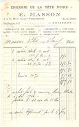 FACTURE 1938 E. MASSON RUE SAINT CHRISTOPHE SOISSONS AISNE ÉPICERIE DE LA TETE NOIRE - CAFÉ VINS FINS LIQUEUR - Levensmiddelen