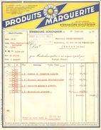 FACTURE 1931 PRODUITS MARGUERITE STRASBOURG SCHILTIGHEIM - CACHET FOIRE DE LYON 1931 2 AU 15 MARS GROUPE 38 STAND 110 - Food