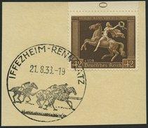 Dt. Reich 671y BrfStk, 1938, 42 Pf. Braunes Band, Waagerechte Gummiriffelung, Sonderstempel IFFEZHEIM-RENNPLATZ, Prachtb - Gebraucht