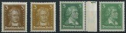 Dt. Reich 385-88 **, 1926/7, 3 Und 5 Pf. Goethe Und Schiller, 4 Prachtwerte, Mi. 38.- - Ungebraucht