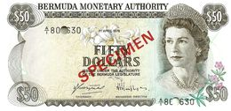 BERMUDA $50 BROWN WOMAN QEII FRONT LIGHTHOUSE BACK O/P SPECIMEN DATED 01-04-1978 PCS1 UNC READ DESCRIPTION !! - Bermudas