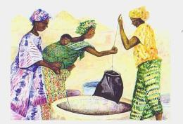 Mali        H10        Au Village.Recherche De L'eau ( Aquarelle ) - Mali
