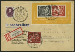 DDR Bl. 7 BRIEF, 1950, Block Debria Mit Zusatzfrankatur Auf Einschreibbrief In Die Schweiz, Pracht - Gebraucht