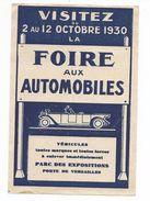 Publicitée FOIRE AUX AUTOMOBILES -1930- - Other