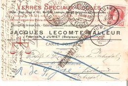 N° 74 JUMET Du 17/6 S/CP.Commerciale Vers LISBONNE.LISBOA Central - Griffe Retour à L'envoyeur - 1905 Thick Beard