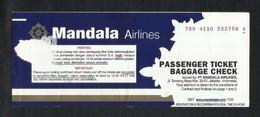 Indonesia Mandala Airlines Transport Ticket Used Passenger Ticket - Titres De Transport