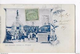 SAN SALVADOR / ESTATUA DE MORAZAN / RARE ++ ET  TRES BELLE CARTE AFFRANCHIE 1905 - Salvador