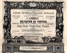LIGNE INTERNATONALE D'ITALIE Par Le Simplon.1868-(voir: Recto ,et Verso) - Railway & Tramway