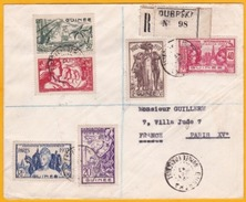 1937 - Guinée -Exposition Internat De Paris - Série Complète Sur Lettre Recommandée De Dubréka Vers Paris  - Cad Arrivée - 1937 Exposition Internationale De Paris