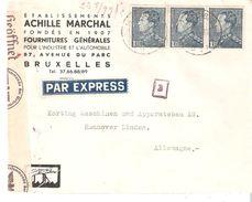 Lettre Par EXPRESS Bleue Bde De 3 TP.430 BRUXELLES 1 V/Hannovre Censure De Cologne - 1936-1951 Poortman