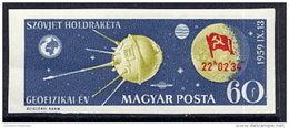 HUNGARY 1959 Luna 2 Moon Landing Imperforate  LHM / *.  Michel 1626B - Hungary