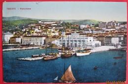 TRIESTE - PANORAMA CON MOLO E BARCHE, VIAGGIATA, CENSURA MILITARE - Trieste