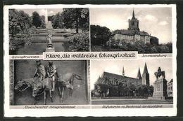 AK Bad Cleve, Schwanenburg, Ehrenfriedhof-Kriegerdenkmal, Springbrunnen, Stiftskirche - Duitsland