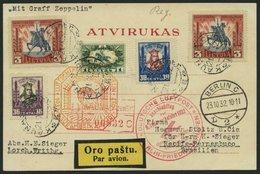 ZULEITUNGSPOST 195B BRIEF, Litauen: 1932, 9. Südamerikafahrt, Anschlußflug Ab Berlin, Prachtkarte, Gepr. Dr. Simon - Zeppelins