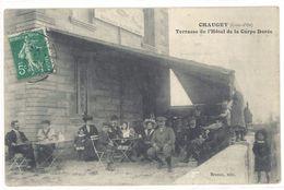 Cpa Chaugey - Terrasse De L'Hôtel De La Carpe Dorée - France