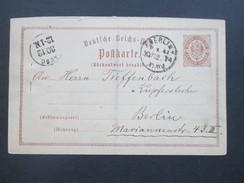 Deutsches Reich 1874  Ganzsache P3 Frageteil (Rückantwort Bezahlt) Ortspostkarte Berlin. Stempel. Ausg. 30.12. - Brieven En Documenten