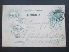 Deutsches Reich 1899 / 1900 Ganzsache P43 Jahrhundertwende. Ortspostkarte Flensburg. 20.1.1900 - Briefe U. Dokumente