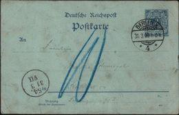 ! 31.3.1900 Ganzsache 2 Pfennig Deutsches Reich, Stempel Berlin, Nachgebühr, Vorersttag - Deutschland