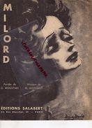 -PARTITION MUSIQUE - MILORD- GEORGE MOUSTAKI-M.MONNOT-EDITIONS SALABERT-PARIS- EDITH PIAF - Scores & Partitions