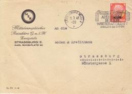 Lettre Entête MER Obl. Flamme Ausstellung Strassburg 2 P (Type 347) Le 11/07/41 Pour Strassbourg - Alsace-Lorraine