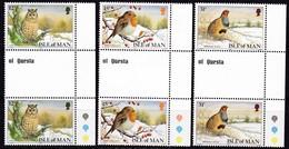 Man, 1988, 385/87,  Weihnachten: Vögel.  MNH **, GUTTER PAIR - Man (Eiland)