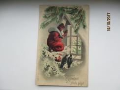 CHRISTMAS , SANTA CLAUS  , EMBOSSED RELIEF  ,  OLD POSTCARD ,RA - Santa Claus