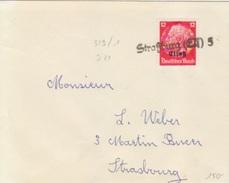 Petite Lettre Avec TP Elsass Obl. Tampon Caoutchouc Strasburg Els 5 (T 319/1) Pour Strasbourg - Alsace-Lorraine