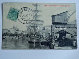 SPAGNA España Spain ALICANTE  Muelles Porto Sailing Ship Boat Old Postcard - Alicante