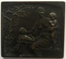 Médaille Bronze. Oeuvre De L'Enfance De Brabant. P. Theunis. 60x70 Mm - 121gr - Professionali / Di Società