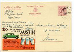"""1966 - Belgique - Publibel N° 2115 - Carton Jaune -  """"20 ANS EN AVANCE VEC UNE AUSTIN HYDRAULASTIC"""" - Stamped Stationery"""