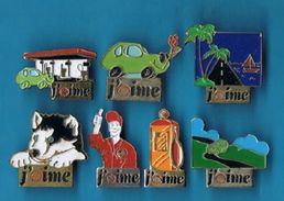LOT 7 PIN'S // ** PERSONNAGE / CHIEN / PAYSAGES & VEHICULES ** J'AIME SHELL ** - Badges