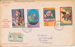 India Registered FDC 5-5-1973 Indian Miniature Paintings Complete Set Of 4 Sent To England - FDC