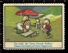 German Poster Stamp, Reklamemarke, Vignette, Coffee Kaffee, Aecht Franck, Dwarfs, Zwerge - Boissons
