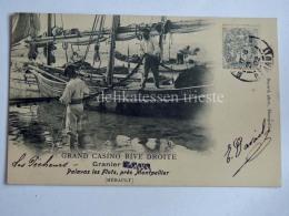FRANCIA FRANCE PALAVAS LES FLOTS MONTPELLIER Grand Casino Rive Droite Bateau De Pêche Old Postcard - Palavas Les Flots
