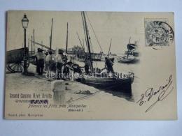 FRANCIA FRANCE PALAVAS LES FLOTS MONTPELLIER Grand Casino Rive Droite Fisherman Old Postcard - Palavas Les Flots