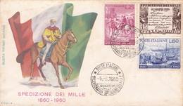 1° CENTENARIO SPEDIZIONE DI MILLE. ITALIA/L'ITALIE/ITALY 1960 - FDC - BLEUP - 1946-60: Marcophilia