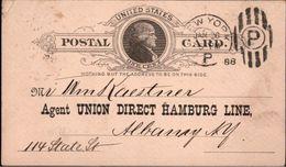 ! 1888 Postal Stationary USA, Ganzsache, Union Direct Hamburg Line, Albany - ...-1900