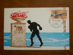 "Italia, Olimpiadi Cartolina ""Disciplina Pugilato""  XVII Giochi Olimpici Di Roma Del 31/8/1960 Annullo ""Acquasanta"" - Stadien & Sportanlagen"