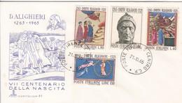 7°CENTENARIO DELLA NASCISTA DI DANTE ALIGHIERI. ITALIA/L'ITALIE/ITALY. 1965 - FDC - BLEUP - F.D.C.