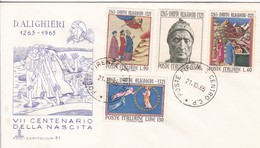 7°CENTENARIO DELLA NASCISTA DI DANTE ALIGHIERI. ITALIA/L'ITALIE/ITALY. 1965 - FDC - BLEUP - 6. 1946-.. República