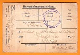 FRANCHISE POSTALE MILITAIRE ALLEMANDE  1917  GUERRE 14-18 CORRESPONDANCE DE PRISONNIER OBLITERATION MARQUE - Marcophilie (Lettres)