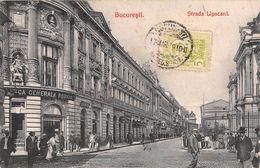 "06749 ""ROMANIA - BUCAREST - STRADA LIPSCANI""  ANIMATA. CART  SPED 1910 - Romania"
